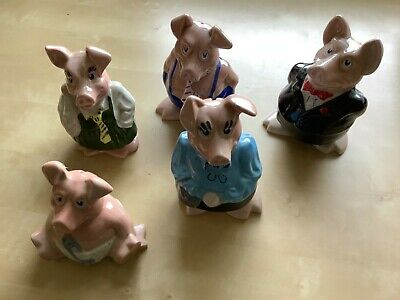 Full Set 5 WADE NATWEST PIGS & STOPPERS. PERFECT, KEPT WRAPPED SINCE NEW. • 74.99£