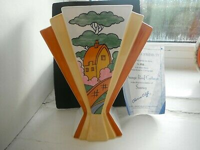 Clarice Cliff   Orange Roof Cottage   Fan Vase  Wedgwood - Rare!! • 98£