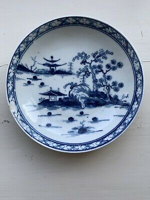 18th Century Lowestoft Worcester Crescent Saucer Blue White Cannonball Pattern • 45£