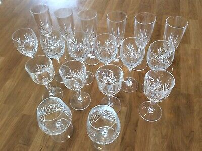 Beautiful Lead Crystal Cut Glass Flutes, Wine & Brandy • 41£