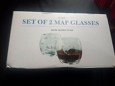 Set Of 2 Map Glasses Unused Great Condition • 0.99£