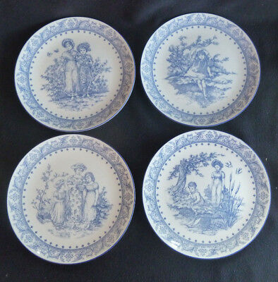 Set FOUR Royal Doulton Blue & White China Collector Plates Victorian Pastimes  • 19.99£