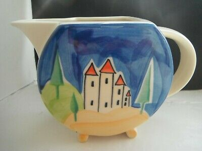 CLARICE CLIFF STYLE  BLUE LUCERNE   MILK JUG  By PAST TIMES • 15£