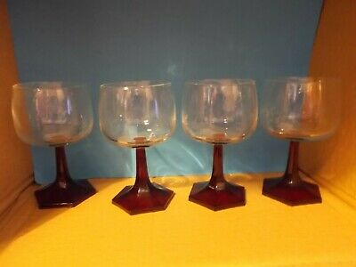 Set 4 Vintage French Durand Arcoroc Wine Glasses Ruby Red Hexagonal Base 70s • 14.99£