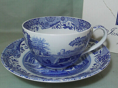 Spode Italian Pattern Jumbo Cup & Saucer From The Blue Room Collection Boxed • 35£