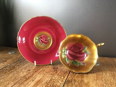Rare Beautiful Paragon A1572/1 Red Cabbage Rose Gilded Cabinet Tea Cup & Saucer • 265£