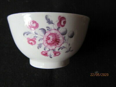 18th Century Lowestoft (?) Liverpool (?) Teabowl Puce Flowers English 1780s • 25£