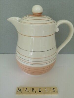 GRAY'S POTTERY ~BROWN BANDED STRIPED A8304~ Large Teapot Water Jug • 14.99£