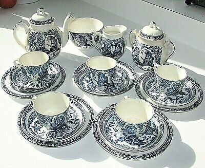 Allertons England Punch And Judy Child's Tea Set - Blue- 21 Pcs Antique 1890's  • 411.77£