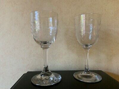 Antique Etched Sherry Port Glass Ferns Hand Blown • 14.99£