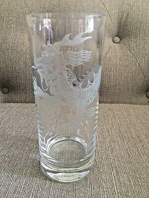Clear Glass Vase With Chinese Dragon Etched Design • 8.99£