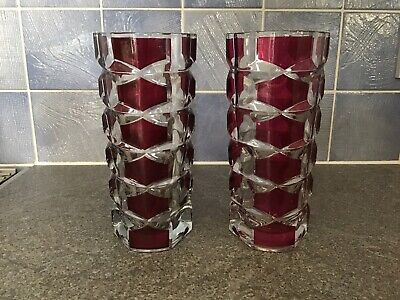 "Pair Vintage Retro French Ruby Red/clearvase 6 1/2"" Pre-owned • 5£"