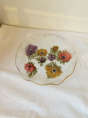 Vintage Chance Clear Glass Fluted Plate,Poppy,Anemone Pattern • 7£