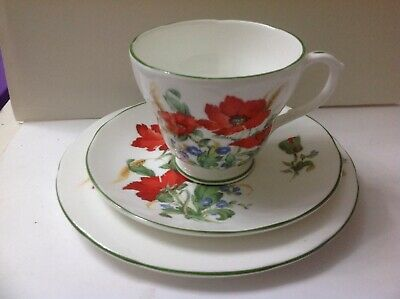 2x Duchess Fine Bone China Poppies,Cup,Saucer,Side Plate: Trio • 14.99£