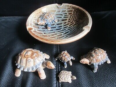 VINTAGE WADE TORTOISES, 4 SIZES, And LARGE BOWL/ASHTRAY With TORTOISE • 20£