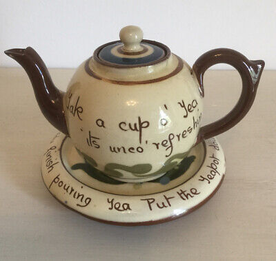 Vintage Aller Vale Motto Ware Small Teapot And Teapot Stand/ Underplate • 10£