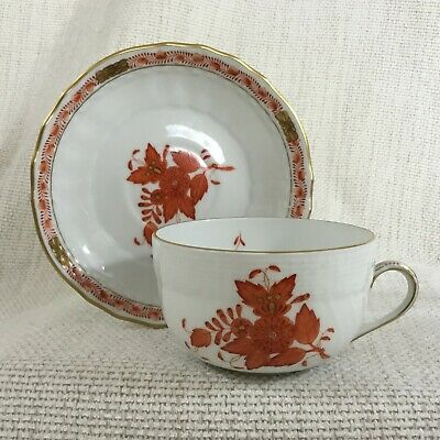 Herend Porcelain Canton Teacup And Saucer Apponyi Orange Rust Chinese Bouquet • 85£