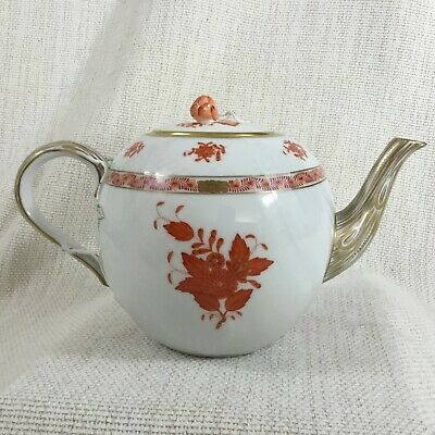Herend Porcelain Large Teapot Apponyi Orange Chinese Bouquet Rust Hand Painted  • 260£