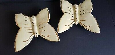 2 X Vintage Yellow & Gold Butterfly Wall Pockets Retro Pottery • 22£