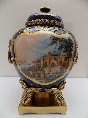 Limoges Lidded Vase On Stand With Brass Handles Classic Scene Hand Painted • 120£