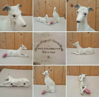 *Used* Lovely Pair China Dog Figures▪LURCHER▪Whippet~Home Decor~Sitting & Laying • 8£