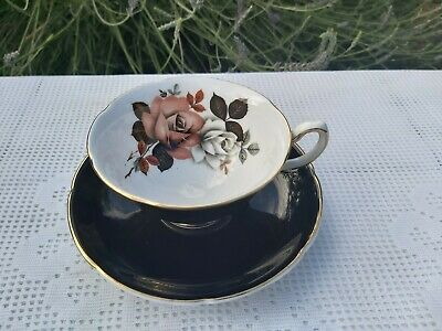 Royal Grafton Pattern Black With Rose Cup And Saucer • 15£