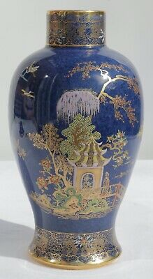Carlton Ware Blue Chinoiserie Rouleau Vase  • 99£