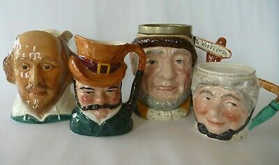 Lancaster &Sandland / Sylvac Character Toby Jugs: Cobleigh Shakespear Cabby Gamp • 15£