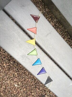 Fused Glass Rainbow Bunting For Inside Or In The Garden • 19.50£