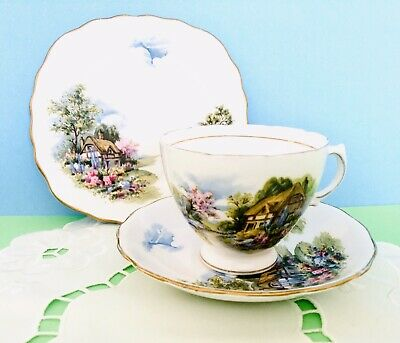 English Vintage Teacup Trio Country Cottage Pattern By Royal Vale • 10£