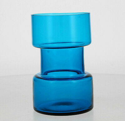 A Vintage Blue Hooped Glass Vase Scandinavian ? 1960's 70's • 55£