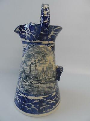 Vintage Unmarked Blue & White London Scene River Thames St Pauls Tall Jug • 14.99£
