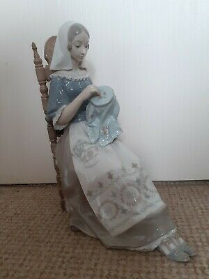 Lladro Seated Embroidery Lady Figurine Retired 4865 Made In Spain • 143£