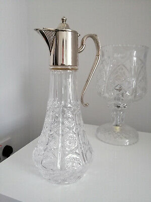 Glass Claret Silver Plated Jug, Large. • 4.99£