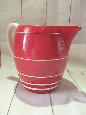 Vintage Gray's Pottery Jug Red And White Banded Pattern • 24.95£