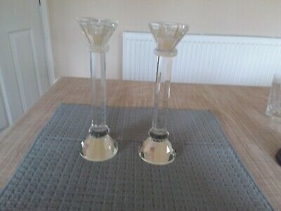Pair Of Crystal Glass Candlesticks 8 3/4  Tall  • 12£