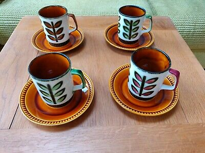Vintage Boch Belgium 1841-1966 Set Of 4 Espresso Coffee Cups & Saucers • 10.90£