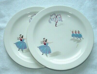 BESWICK 'Pavlova' Pattern, Side Plates Two (2) C1955. England. Similar Ballet • 12£