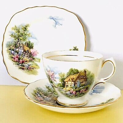 Bone China Teacup /  Vintage Teacup Trio Country Cottage Pattern By Royal Vale • 5.99£