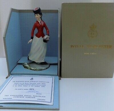Royal Worcester Victorian Series Skater Figure Emily In Box Slightly A/f • 38£