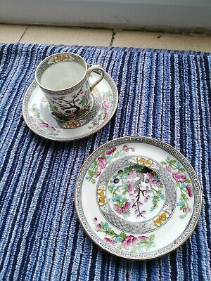 Vintage Aynsley Indian Tree Coffee Can And 2 Saucers • 8£