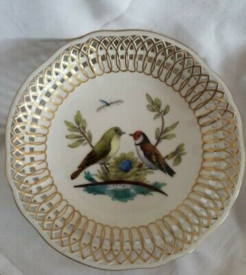 Berlin Hand Painted Porcelain Reticulated Shallow Dish - Birds • 19.99£