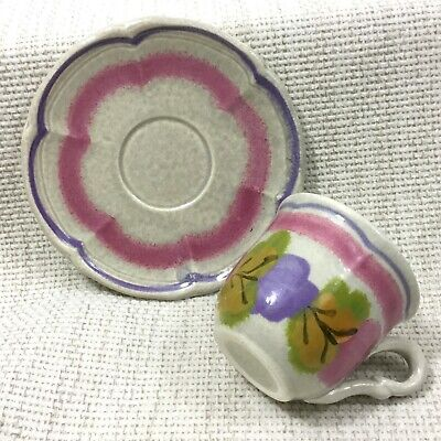 Vintage French Pottery Cup And Saucer Duo Demitasse Hand Painted Stoneware  • 24£