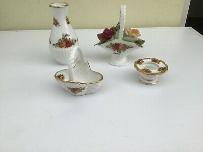 Collection Of 4 Royal Albert Country Rose Ornaments • 10£