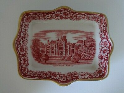 H&M Sutherland China Historical Britain Pink Transferware Melrose Abbey Pin Dish • 9.95£