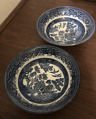 Churchill Pottery England Willow Pattern Blue & White 2 Small Cereal Soup Bowls • 7.50£
