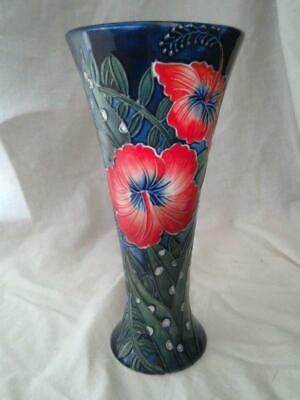 Old Tupton Ware HIBISCUS  Tube Lined 8 Inch Vase - 1584 • 27.95£