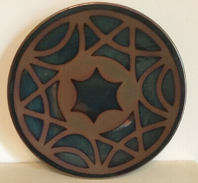 Pottery Plate/ Wall Plaque With Mirrored Metallic Overlay And Central Star -24cm • 14£