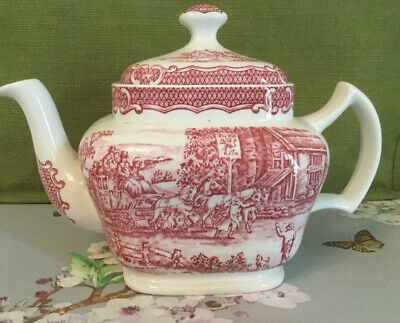 Vintage Wood & Sons Teapot- The Post House/ Red Lion- Red Transfer Ware • 15£