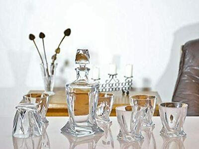 Crystal Glass Quadro Whisky Decanter Boxed Gift Set With 6 X 340ml Tumblers • 69.99£